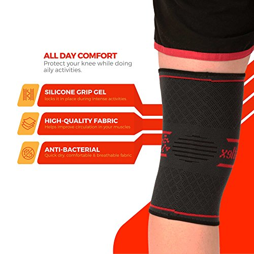 UFlex Athletics Knee Compression Sleeve diagram displaying benefits of sleeve