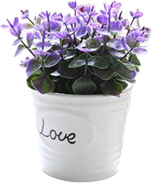 Topxingch - 1 planta artificial en maceta para decoración de jardín, boda, sala de estar, morado: Amazon.es: Jardín