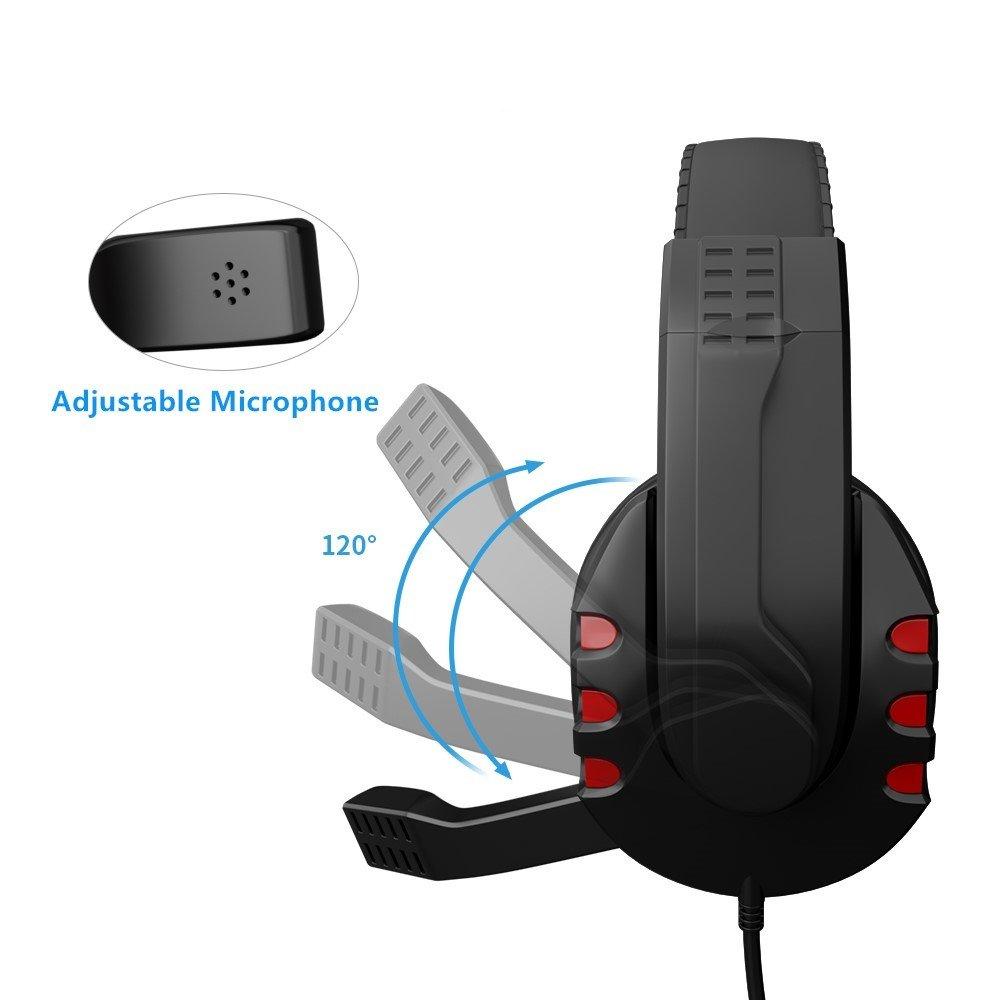 JAMSWALL USB Auriculares Gaming USB Wired Gaming Auriculares con micr/ófono Ajustable Auriculares Stereo Sound Cancelaci/ón de Ruido para PS3 PS4 Sony PC