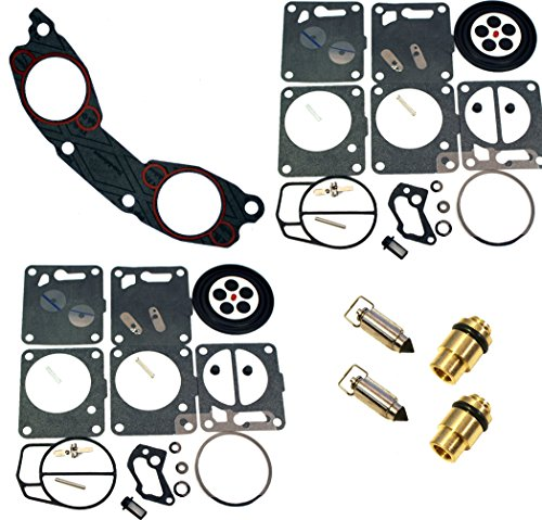 (Compatible With Yamaha, Venom Brand Dual Mikuni Carburetor Rebuild Kit Needle/Seat- Carb Base Gasket (Fits MANY 1994-2011 700/701 cc, See Ad For Exact Model & Year Fit)