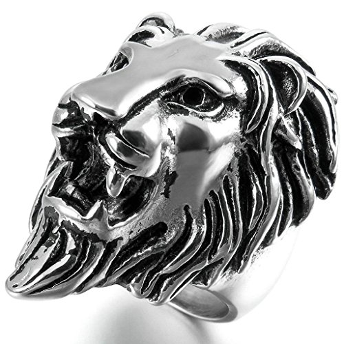 Aooaz Stainless Steel Rings For Men Silver Black Stunning Lion Bands Gothic Punk Size 15 Free Engraving -
