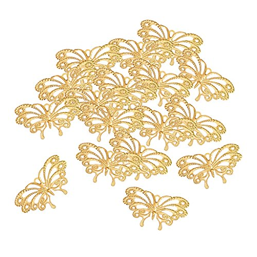 (Fityle 30 Pieces Hollow Filigree Butterfly Slice Charms Setting DIY Jewelry Making Supplies - Gold)