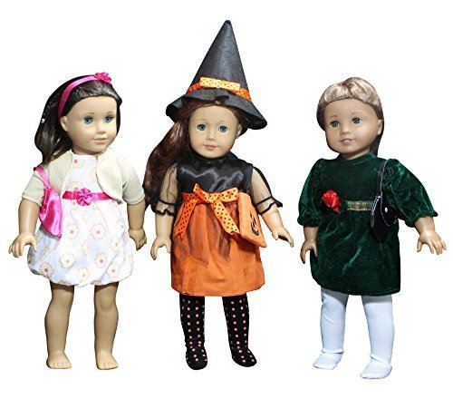 Set of 3 Holiday Outfit Sets, Doll Clothes for American Girl or Other 18 Dolls - Halloween, Christmas Free Skin, Hair & Care