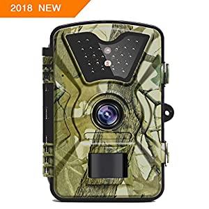"【NEW VERSION】Trail Camera Trail Game Cameras 12MP 1080P 2.4"" LCD Infrared Night Vision Hunting Camera with 24LEDs, Motion Sensor and 940nm IR LEDs , Up to 65ft/20m, 0.5s Trigger Speed, IP66 Waterproof"