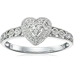 10k White Gold Diamond Heart Ring Valentine's Day gift
