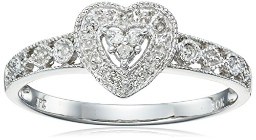 - 10k White Gold Diamond Heart Ring (0.03 cttw, I-J Color, I2-I3 Clarity), Size 9