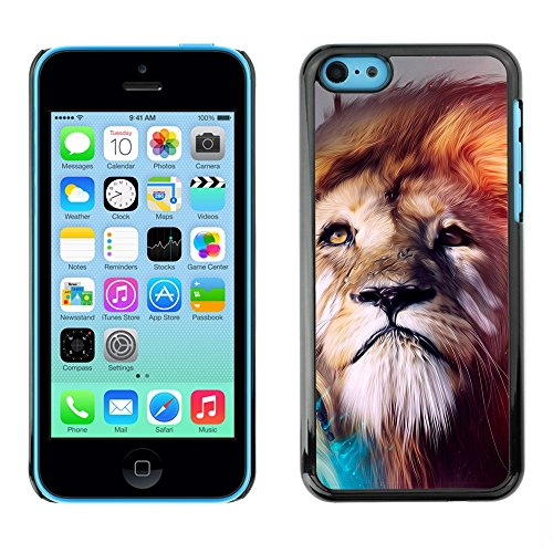 Soft Silicone Rubber Case Hard Cover Protective Accessory Compatible with Apple iPhone 5C - Lion abstract Majestic Cat
