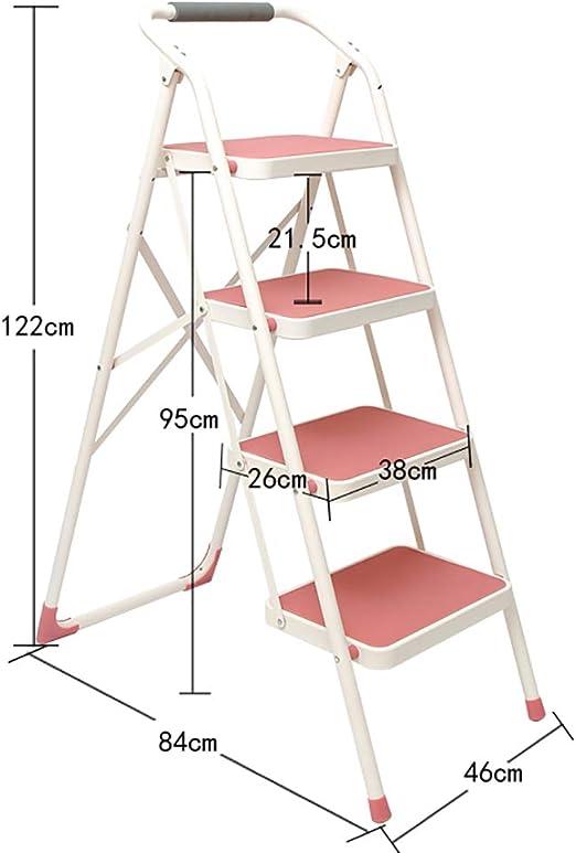 YWTD Escaleras Plegables Taburete Plegable de Acero para Trabajo Pesado de la Escalera del Metal de la Escalera de 4 escalones portátil taburetes (Color : Pink): Amazon.es: Hogar