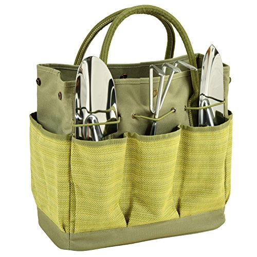 Willow Tote - Picnic at Ascot Gardening Tote With 3 Tools, Olive Tweed