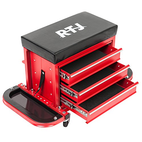 RTJ Tool Chest Cabinet Roller Seat with 3 Drawers & 2 Trays and Pry Bar, Black and Red by RTJ