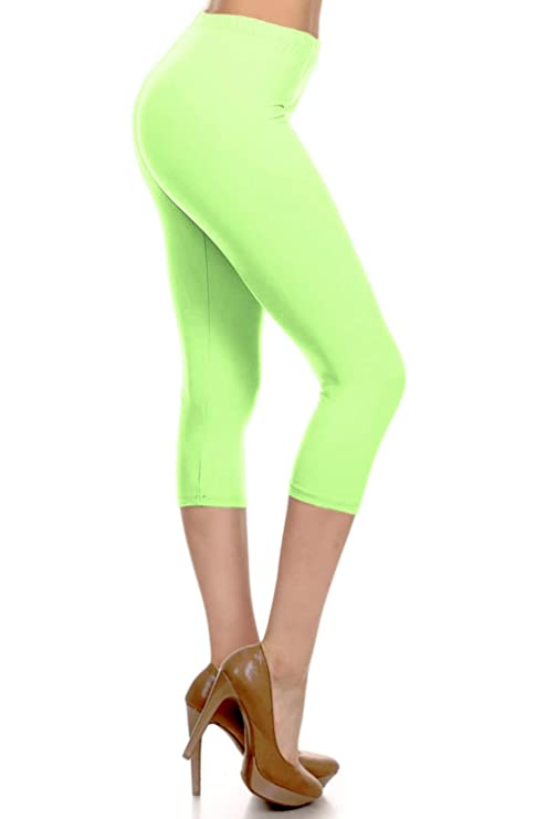 Neon Green High Waisted Capri Leggings for Women, many other colors available