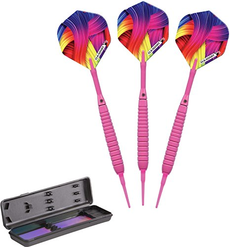 (Elkadart Neon Soft Tip Darts with Storage/Travel Case, Pink, 18 Grams)