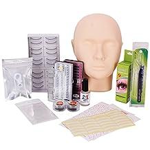YESURPRISE Fake False Eyelash Training Set Mannequin Flat Head Tweezer Glue Makeup Eye Lashes Extensions Display Practice Kit