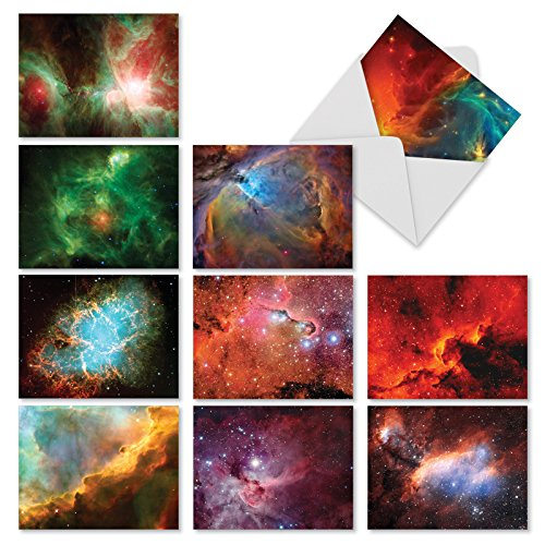 M3977 Galacticards: 10 Assorted Blank All-Occasion Note Cards Offer Breathtaking Photos of Galaxies and Stars, w/White Envelopes.