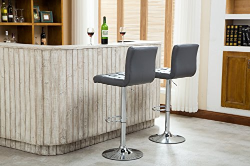 Roundhill Furniture Swivel Leather Adjustable Hydraulic Bar Stool Set Of 2 Gray Buy Online