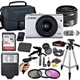 Canon EOS M200 4K Mirrorless Digital Camera (White) with 15-45mm STM Lens + Deluxe Accessory Bundle Including Sandisk 32GB Card, Camera Case, Flash, Grip Multi Angle Tripod, 50' Tripod, Filters & More