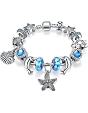 Presentski Heart of Ocean Charm Bangle Bracelet Silver Plated with Cubic Zirconia for Women