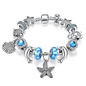 Pandora Style Silver Plated Ocean Beach Theme Charm Beaded Bracelet Gift for Women Girls 18cm