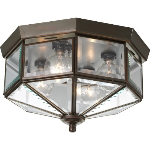 Outdoor Flush Mount Antique - Progress Lighting P5789-20 Octagonal Close-To-Ceiling Fixture with Clear Bound Beveled Glass, Antique Bronze