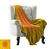 Davishouse Decorative Throw Blanket Sun Burst with Halftone Effect Comic Book Style and Pop Art Design Fall Winter Spring Living Room 30' Wx50 L Orange and Yellow