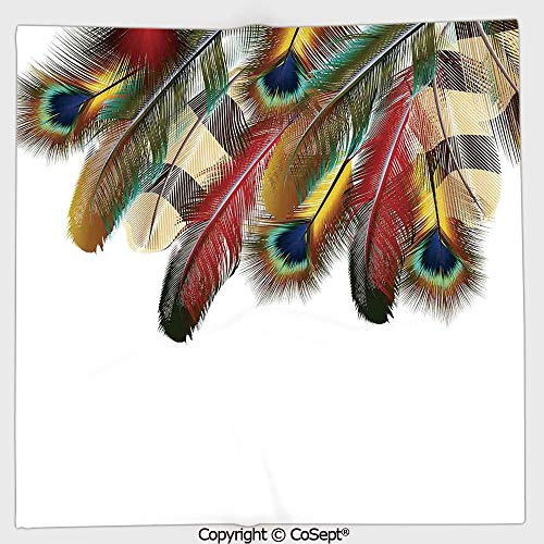 (AmaUncle Microfiber Square Towel,Mystical Colorful Peacock Feathers Universal Link Icons Bohemian Theme,Suitable for Camping,Running,Cycling,Gym(13.77x13.77 inch),Multicolor)
