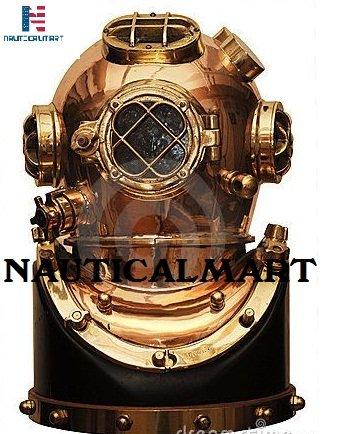 NAUTICAL MART nautique Mart Laiton lourd en cuivre plongeurs casque de plongée avec base en bois