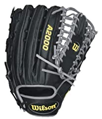 """The Wilson WTA2000BBOT6SS is a black 12.75"""" Six Finger Pro-Laced Web outfielder's glove for a left handed player"""