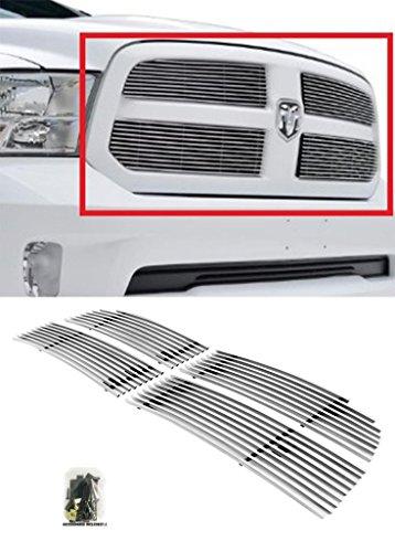Sizver Chrome 4pc Billet Grilles Insert Overlay For 2013-2015 Dodge Ram 1500Fits 1500 Express / HFE / SLT / Tradesman (Inserts Dodge Grille Ram)