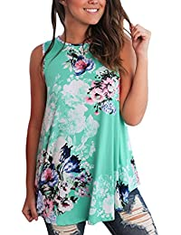 Dokotoo Womens Summer Casual Floral Print Sleeveless...