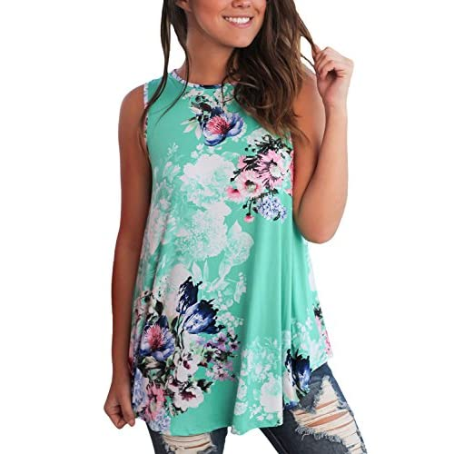 Wholesale Dokotoo Womens Summer Casual Floral Print Sleeveless Loose Tank Blouses and Tops for sale