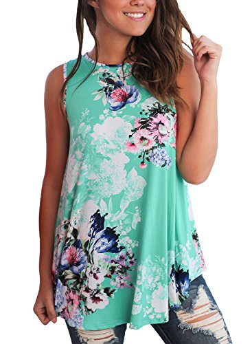 Print High Neck Top (LOSRLY Women Floral Print T-Shirt High Neck Casual Blouse Sleeveless Tank Tops-Green XXL 20 22)