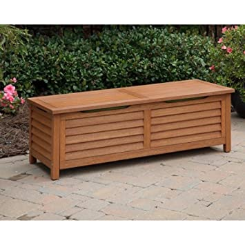 Patio Eco Friendly Wood Deck Box, Waterproof, Eucalyptus Finish, Storage  Bench, Part 55