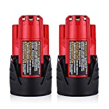 Powerextra 2 Pack 12V 2500mAh Lithium-ion Replacement Battery for Milwaukee M12 Milwaukee 48-11-2411 REDLITHIUM 12-Volt Cordless Milwaukee Tools