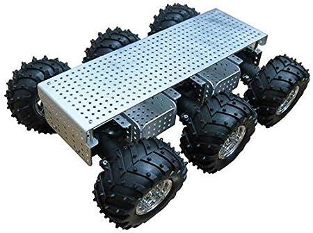 Mnjin Robot programable de Bricolaje RC Robot Chasis de automóvil con Sistema de suspensión y Orificio de Montaje del Brazo de Robot, Plataforma Inteligente de 6 Ruedas motrices, para Arduin