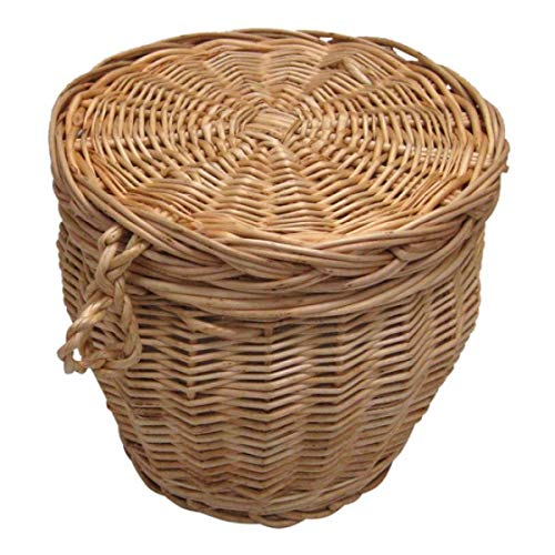 Wicker, Willow, Biodegradable Funeral Urn - for Eco Friendly Human Cremation Ashes Ground Burial - Adult Size - Autumn Gold Creamy White