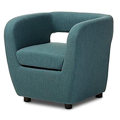 Baxton Studio Ramon Mid-Century Modern Upholstered Lounge Accent Chair, Medium, Blue - Mid-Century Modern Fabric Upholstered Accent Chair Materials: Plastic Legs, High Density Foam, Fabric, Wood Color Option: Blue - living-room-furniture, living-room, accent-chairs - 51Qp830cqnL. SS400  -