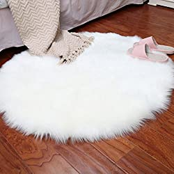Quartly Soft Faux Sheepskin Area Rugs Supersoft Fluffy Shaggy Round Floor Carpet Mat Decorative Throw Cover- Children Play Carpet For Living & Bedroom Sofa (White, 45CM)