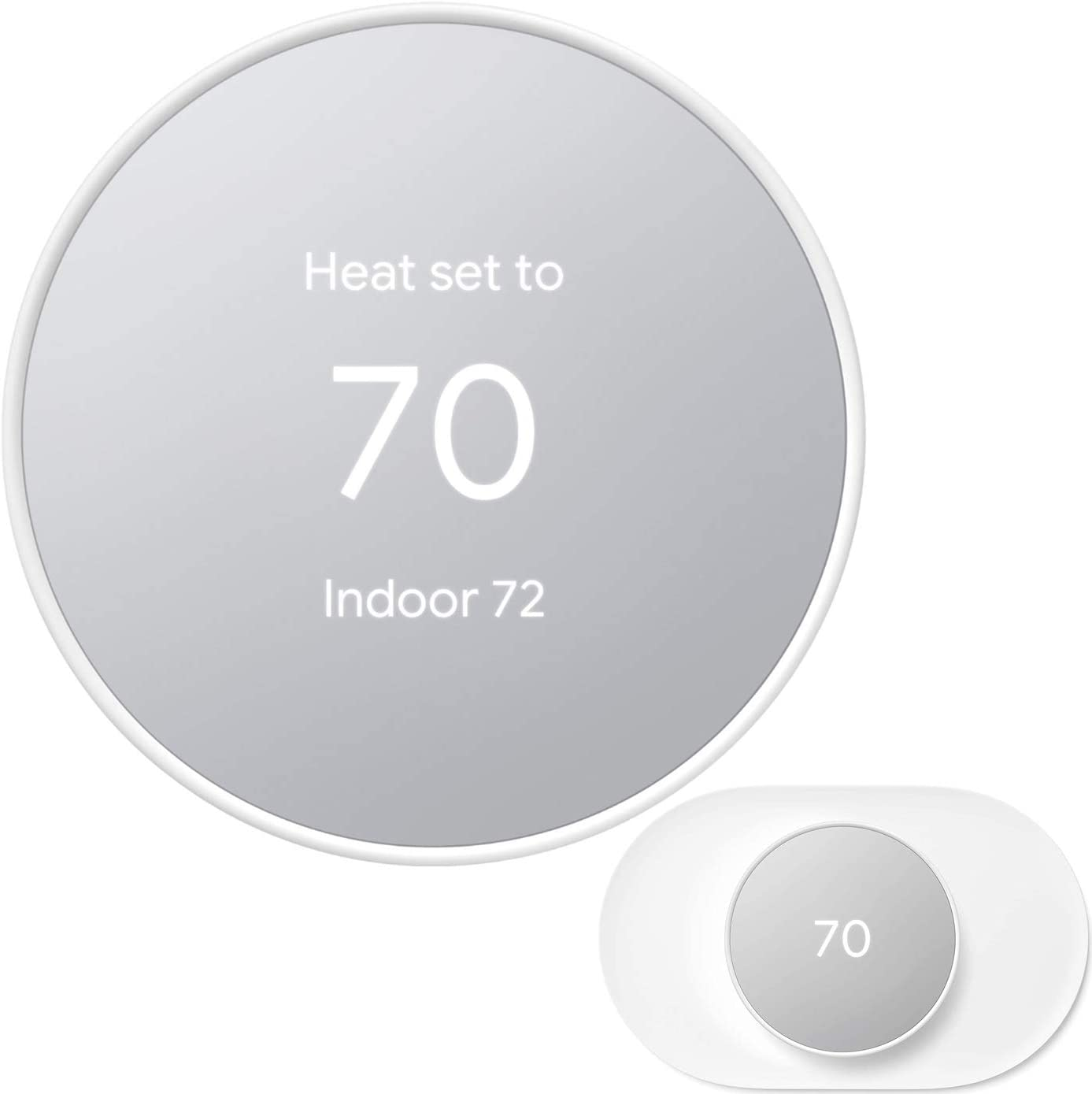 Google Nest Thermostat - Smart Thermostat for Home - Programmable WiFi Thermostat - Snow - GA01334-US Bundle with Matching Google Nest Thermostat Trim Kit Wall Mount Plate GA01837-US