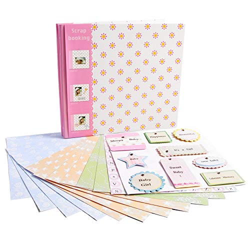 Baby Scrapbook Album - 8x8 Inch Baby Girl First Year Memory Book with 8x8 Inch Pages, with Lots of Pages & Accessories