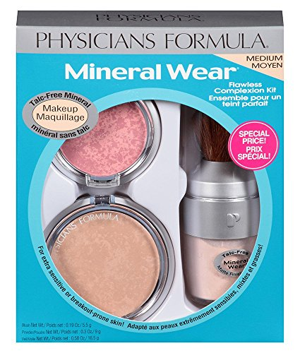 (Physicians Formula Mineral Wear Flawless Complexion Kit, Medium Pressed Powder 0.3 oz, Matte Finishing Veil 0.58 Ounce and Pressed Blush: 0.19 oz.)