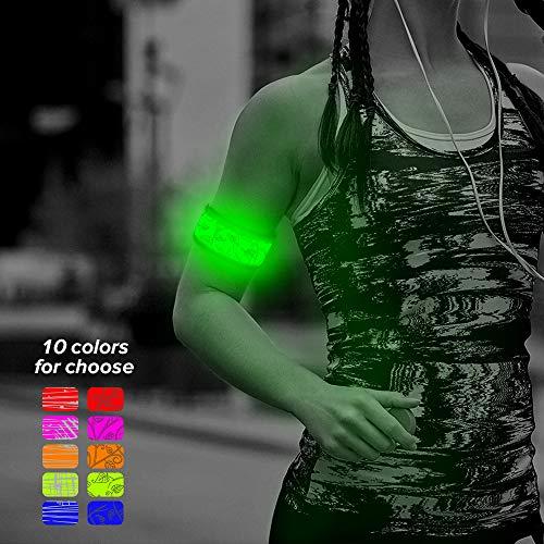 Higo LED Armband, LED Light Up Band Slap Bracelets Night Safety Wrist Band High Visibility Cycling/Biking / Walking/Jogging / Running Gear(Green-Design IV)