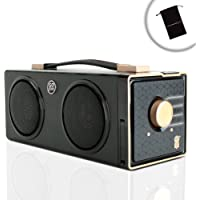Portable Boombox Retro Stereo Rechargeable Speaker by GOgroove - SonaVERSE BXL - Dual Drivers, 12W Peak Power, 7 Hour Battery Life - Plays Music From 3.5mm AUX Port, SD Card, USB Flash Drive
