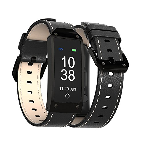 CESSBO Y2 Stainless Smart Fitness Leather Straps Band Interchangeable Smart Fitness Watch Band Blood Pressure Heart Rate Monitor Wrist Watch Intelligent Bracelet Fitness