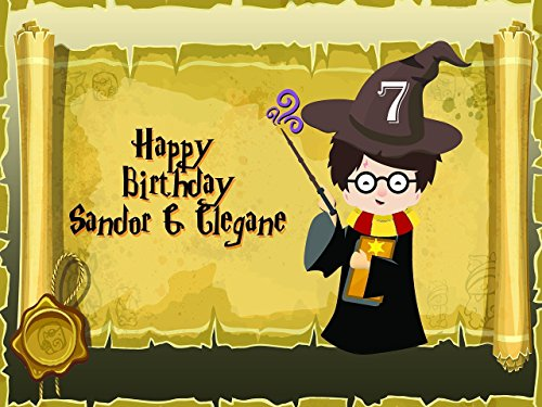 Harry Potter Birthday Party Decoration Personalized Banner for Kids - size 24x36, 48x24, 48x36; Emojis Birthday Party Banner Wall Décor, Handmade Party Supply Poster Print 1000053