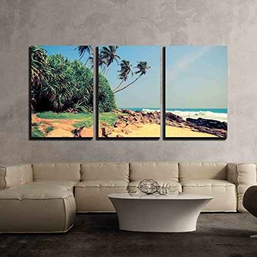 Tropical Beach with Palm in Sri Lanka Vintage Effect x3 Panels