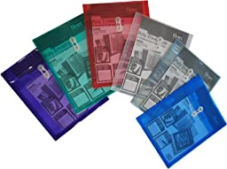 Filexec 1420, Poly Envelope, Top Loading, Letter Size, Set of 12 in 6 Assorted Colors, 2 Each Smoke, Blue, Red, Clear, Purple, Green