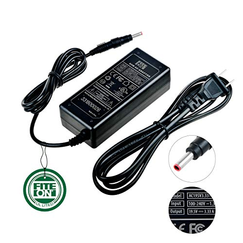 FITE ON 19.5V 3.34A 65W AC/DC Adapter for Dell Inspiron 14-3458 14-3000 14-7000 13-7347 13-7000 11-3000 i7347;Dell Latitude 13-5000 13-7000;Dell XPS 18 1810;Dell P20T with Plug 4.5mm/3.0mm UL Listed