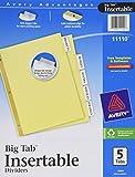 Avery WorkSaver Big Tab Insertable Dividers, 5-Tab, 1 Set, (11110)