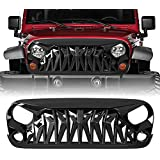 Allinoneparts JK Glossy Black Shark Grille Front Grille for 2007-2018 Jeep Wrangler Rubicon Sahara Sport,ABS