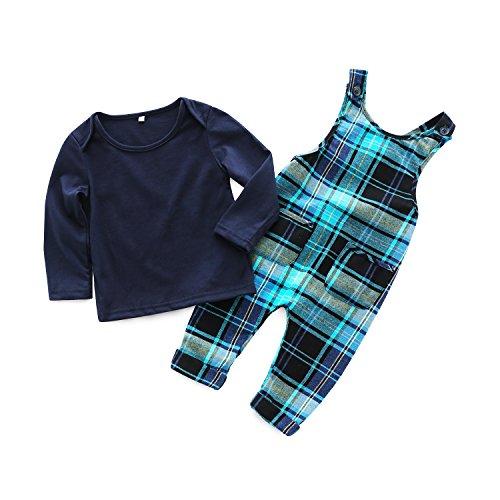 Kimocat 2Pcs Infant Baby Boys Long Sleeve Shirt+Plaid Bib Pants Overalls Clothing Set (Navy Blue, ()